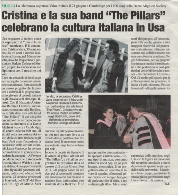 Cristina e la sua band celebrano la cultura Italiana in Usa_In Folio - The Pillars Press - Jandro Cisneros