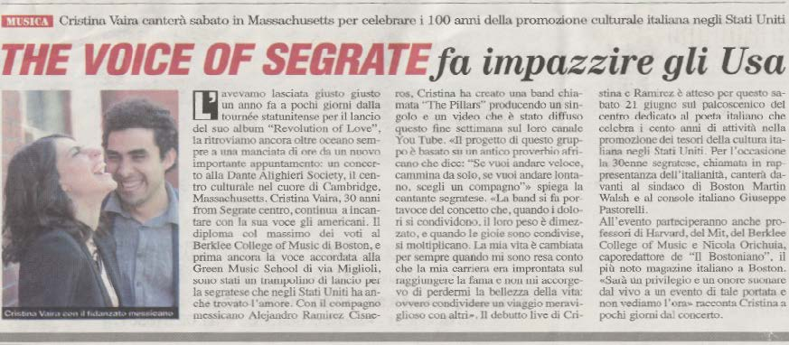 The Pillars© All Rights Reserved. Jandro Cisneros & Cristina Vaira. Press, Article Segrate Oggi.